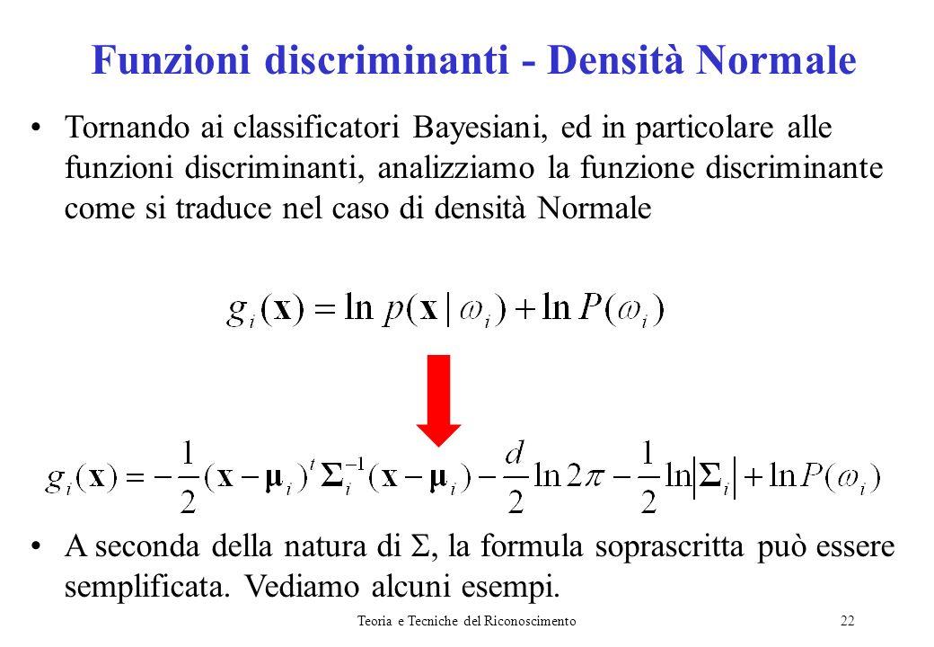 Funzioni discriminanti - Densità Normale