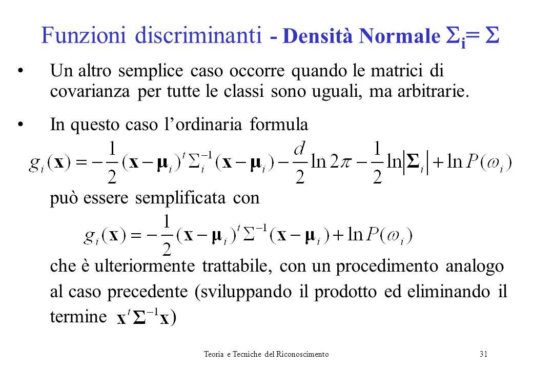 Funzioni discriminanti - Densità Normale i= 