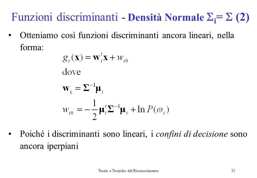 Funzioni discriminanti - Densità Normale i=  (2)