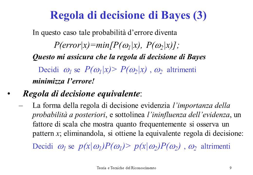 Regola di decisione di Bayes (3)