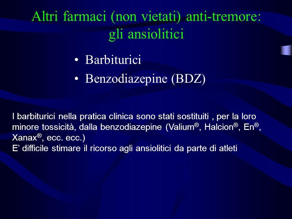 Altri farmaci (non vietati) anti-tremore: gli ansiolitici