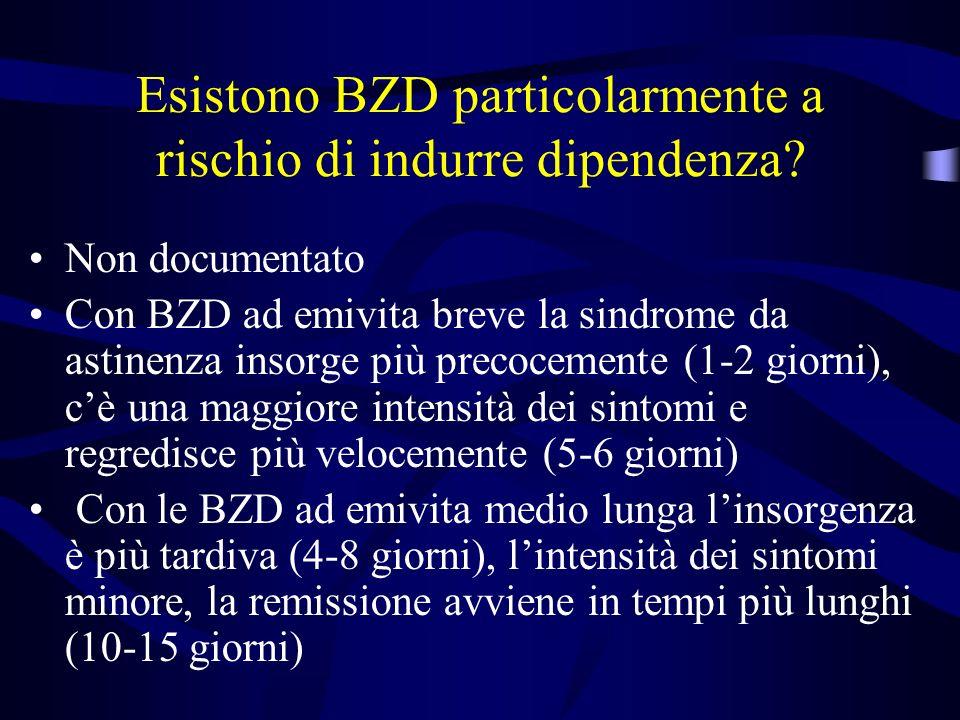 Esistono BZD particolarmente a rischio di indurre dipendenza