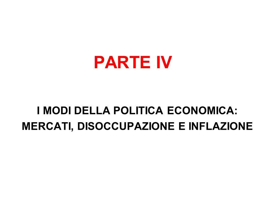 I MODI DELLA POLITICA ECONOMICA: MERCATI, DISOCCUPAZIONE E INFLAZIONE