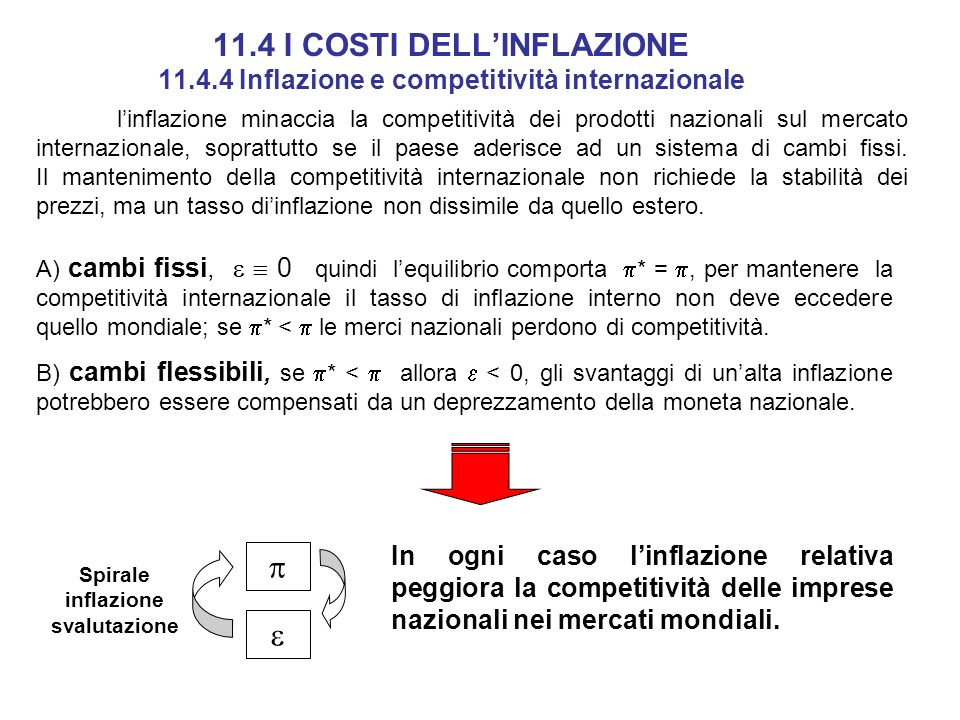 11. 4 I COSTI DELL'INFLAZIONE 11. 4