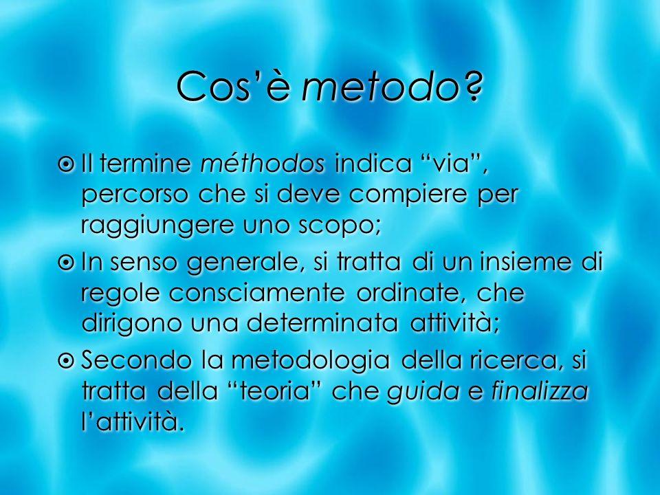Cos'è metodo Il termine méthodos indica via , percorso che si deve compiere per raggiungere uno scopo;
