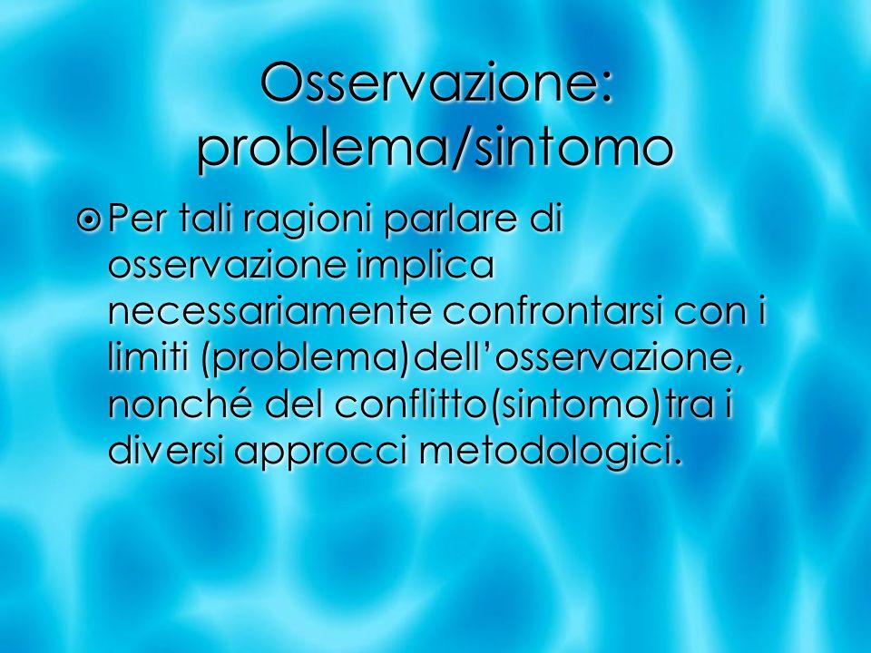 Osservazione: problema/sintomo