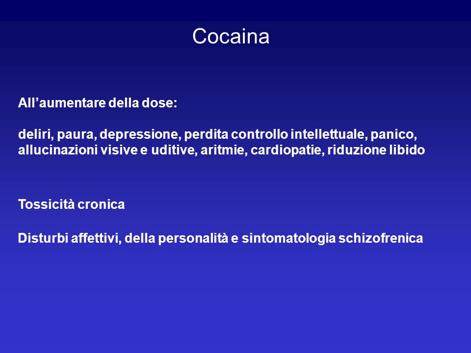Cocaina All'aumentare della dose: