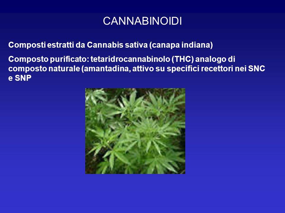 CANNABINOIDI Composti estratti da Cannabis sativa (canapa indiana)