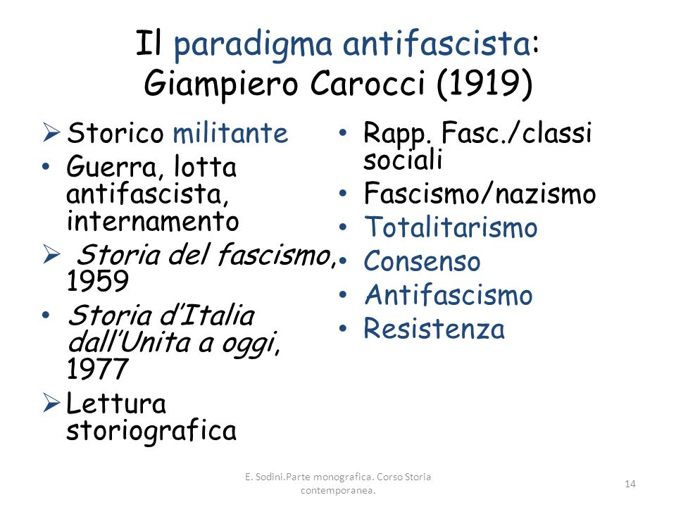 Il paradigma antifascista: Giampiero Carocci (1919)