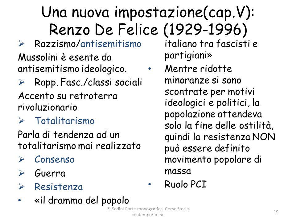 Una nuova impostazione(cap.V): Renzo De Felice (1929-1996)