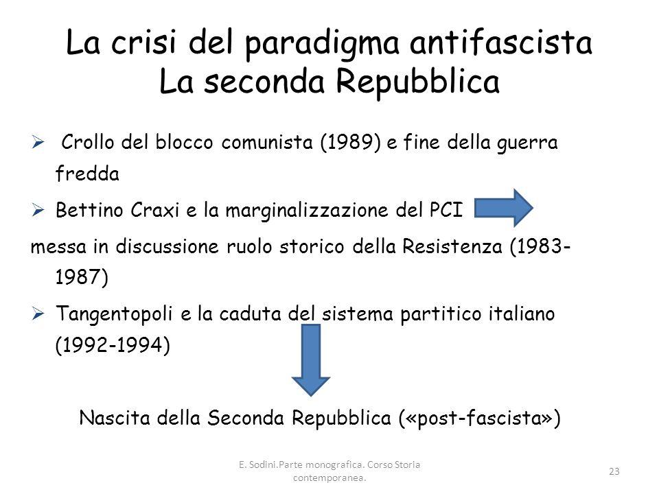 La crisi del paradigma antifascista La seconda Repubblica