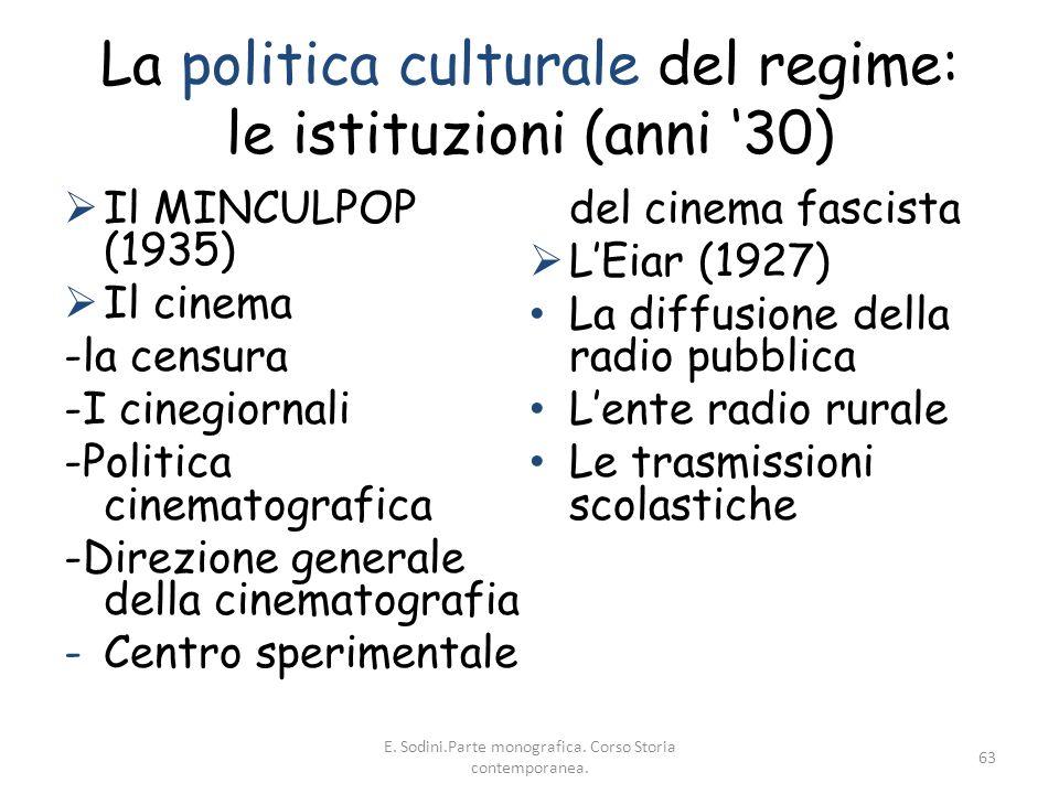 La politica culturale del regime: le istituzioni (anni '30)