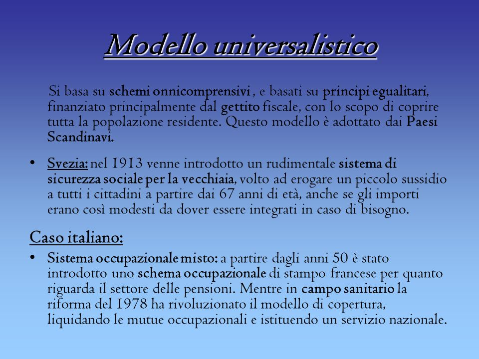 Modello universalistico