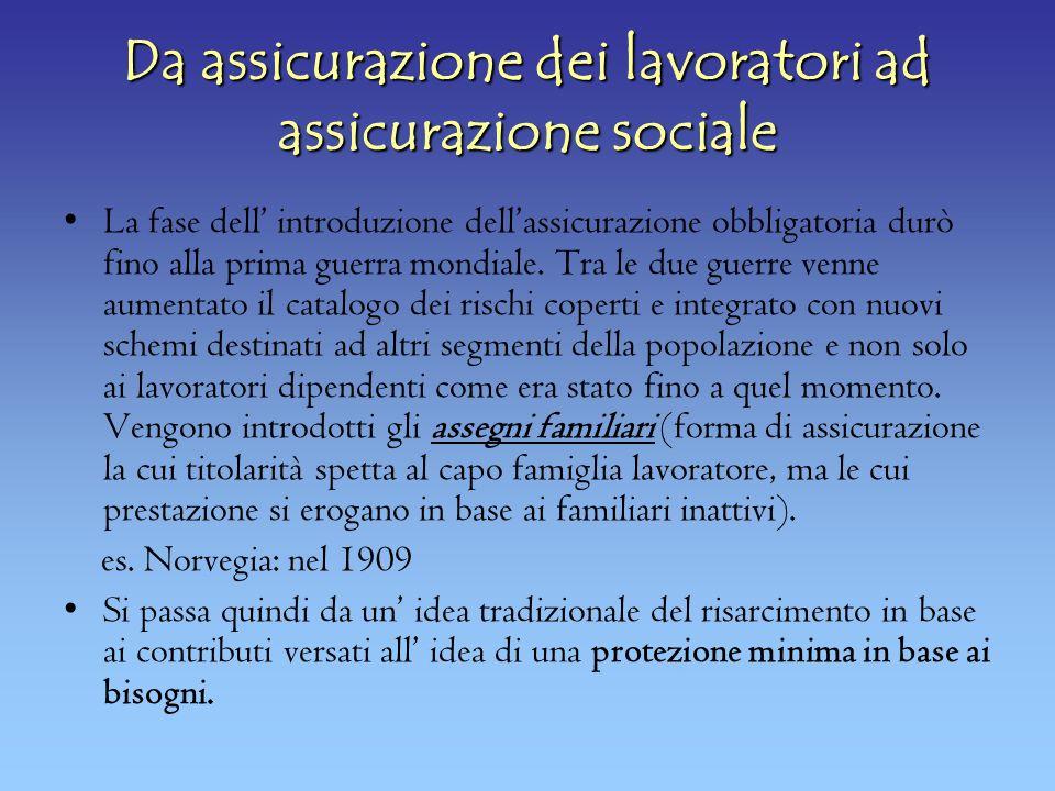 Da assicurazione dei lavoratori ad assicurazione sociale