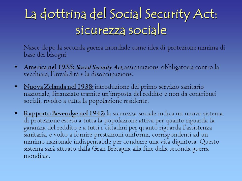La dottrina del Social Security Act: sicurezza sociale