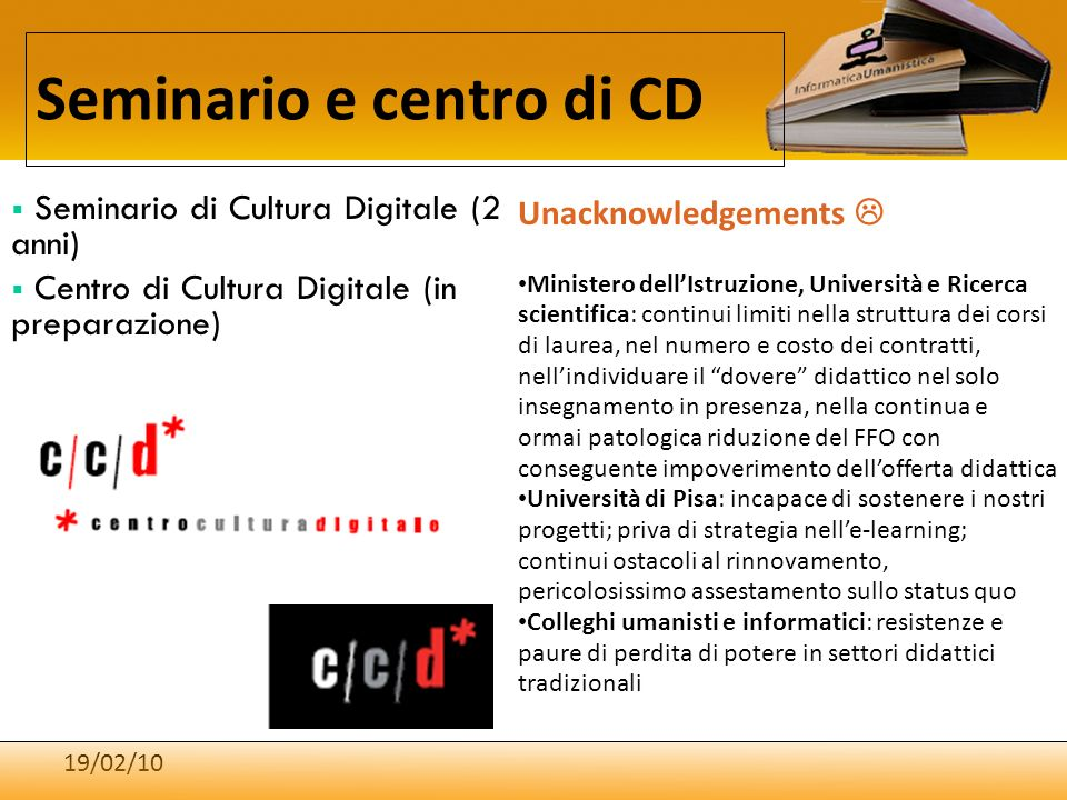 Seminario e centro di CD