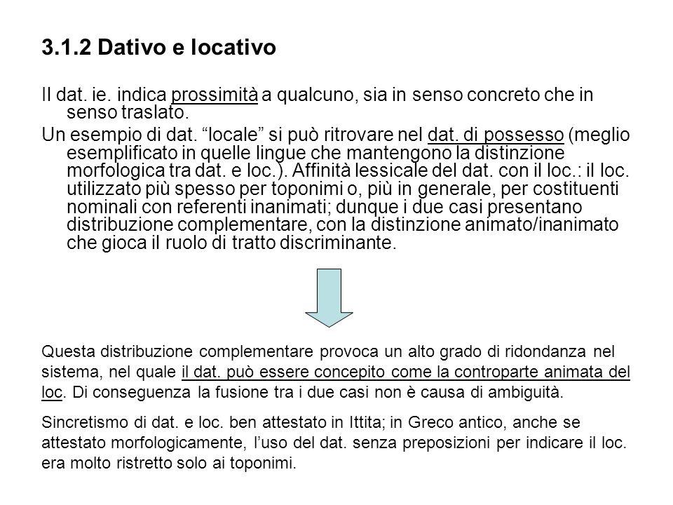 3.1.2 Dativo e locativoIl dat. ie. indica prossimità a qualcuno, sia in senso concreto che in senso traslato.