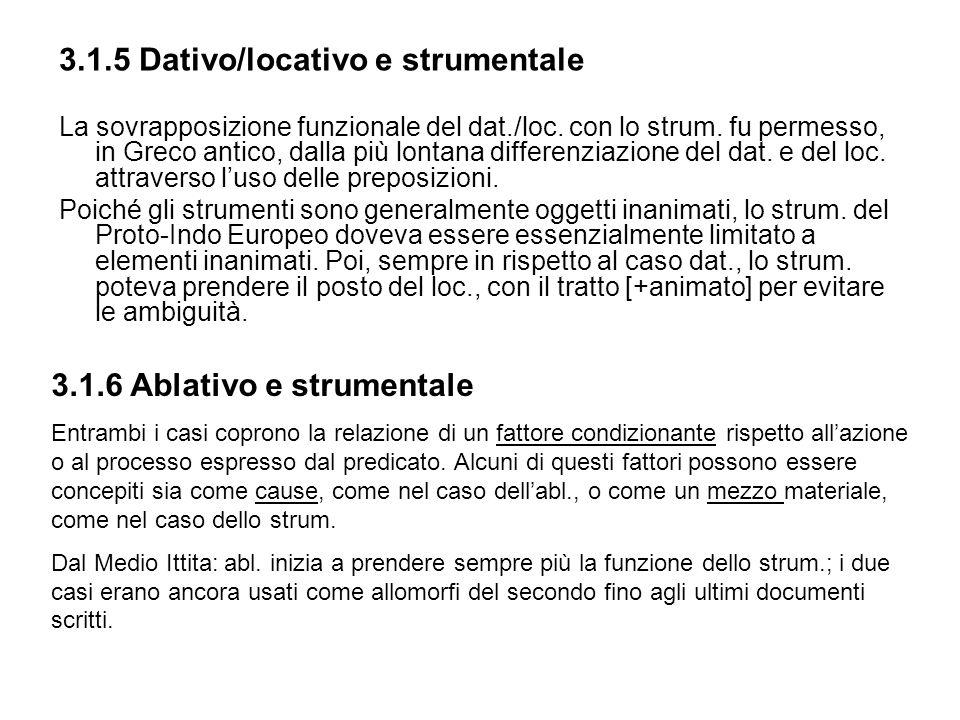 3.1.5 Dativo/locativo e strumentale