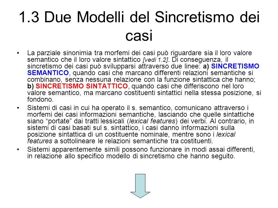 1.3 Due Modelli del Sincretismo dei casi