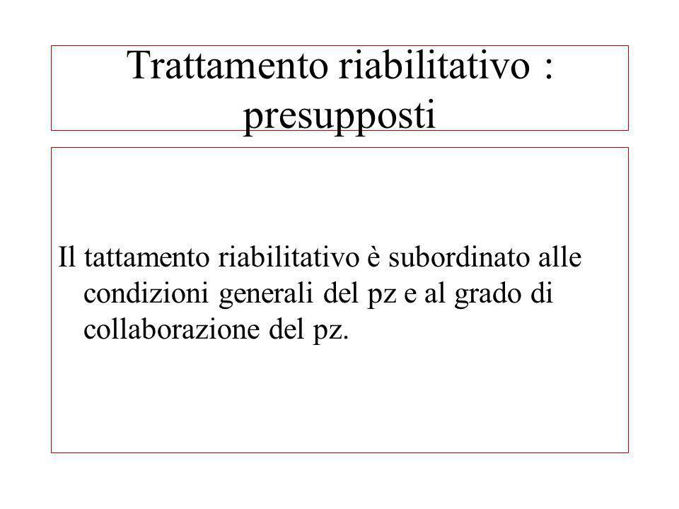 Trattamento riabilitativo : presupposti