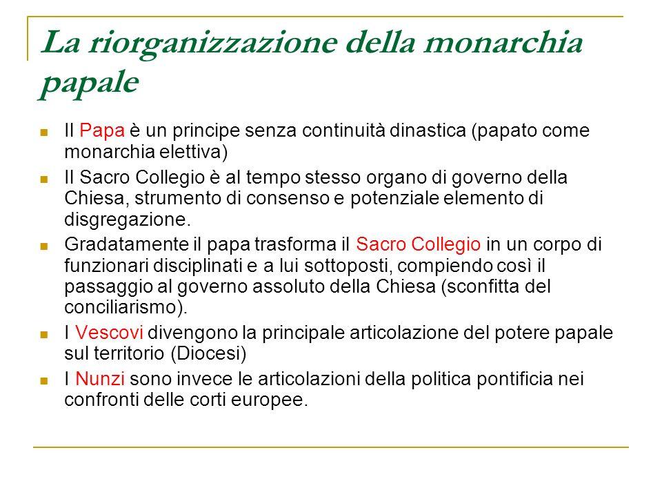 La riorganizzazione della monarchia papale
