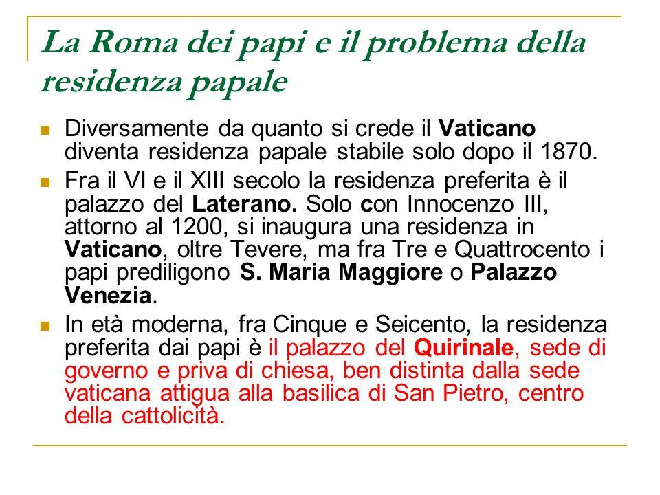 La Roma dei papi e il problema della residenza papale