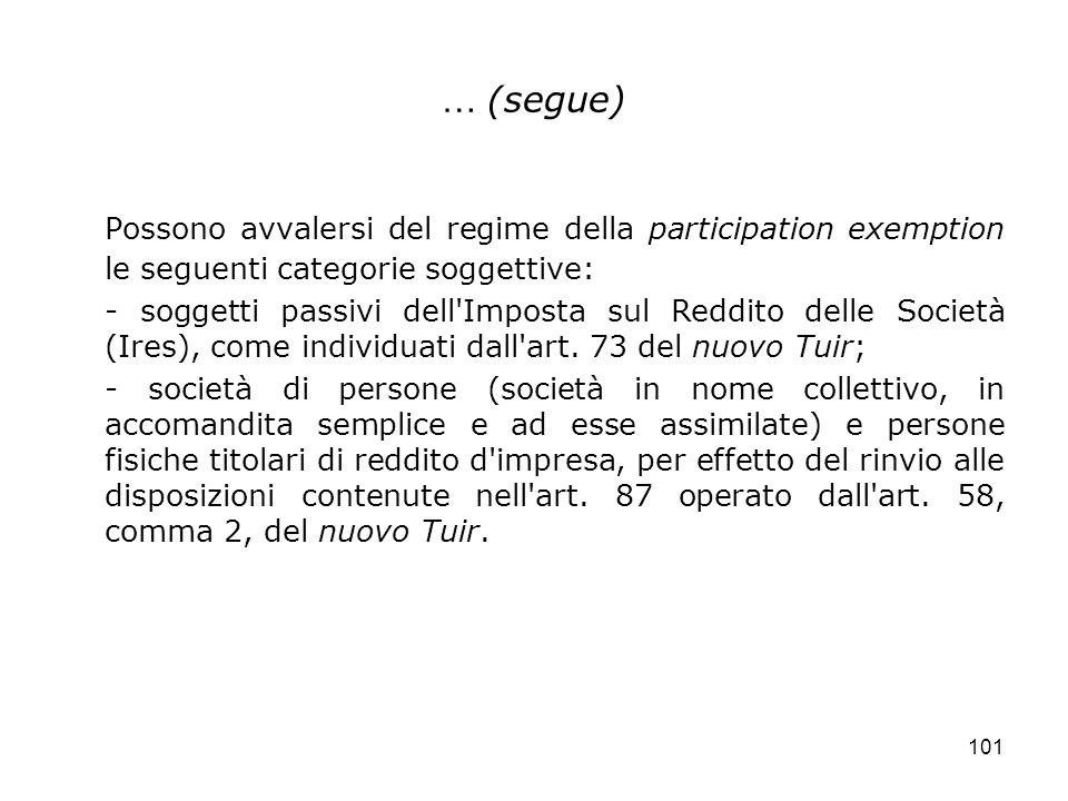 … (segue) Possono avvalersi del regime della participation exemption le seguenti categorie soggettive: