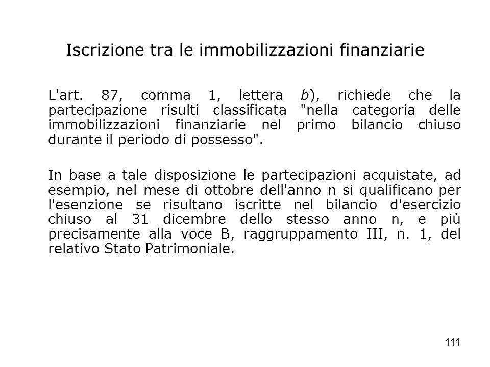 Iscrizione tra le immobilizzazioni finanziarie