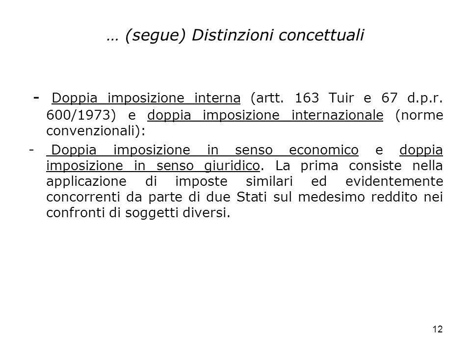 … (segue) Distinzioni concettuali