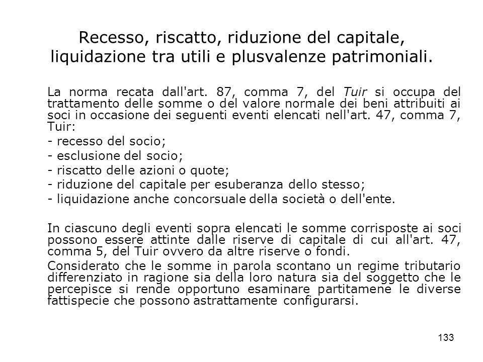 Recesso, riscatto, riduzione del capitale, liquidazione tra utili e plusvalenze patrimoniali.