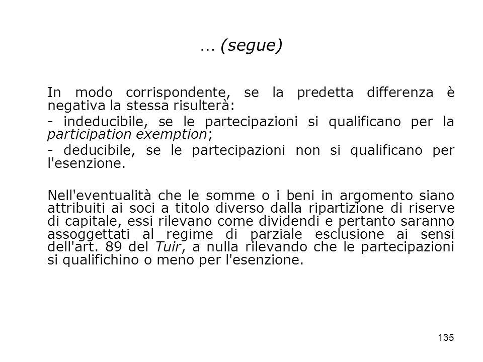 … (segue) In modo corrispondente, se la predetta differenza è negativa la stessa risulterà: