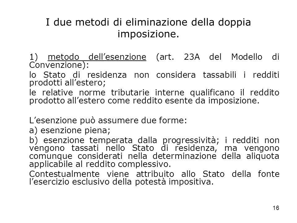 I due metodi di eliminazione della doppia imposizione.