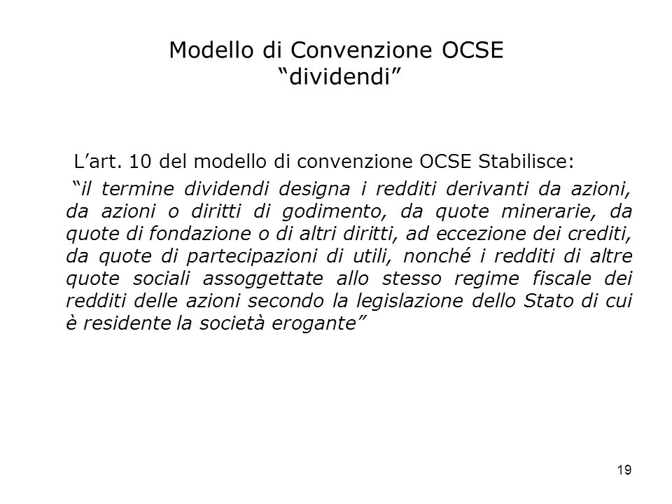 Modello di Convenzione OCSE dividendi