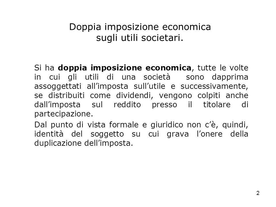 Doppia imposizione economica sugli utili societari.