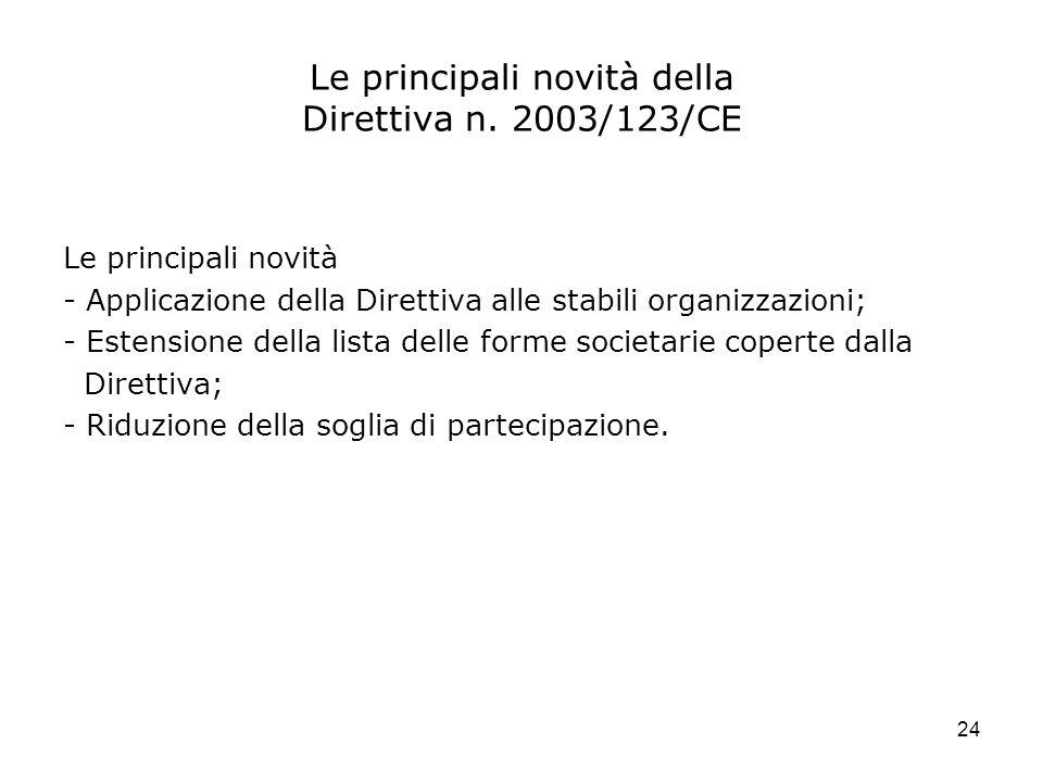 Le principali novità della Direttiva n. 2003/123/CE