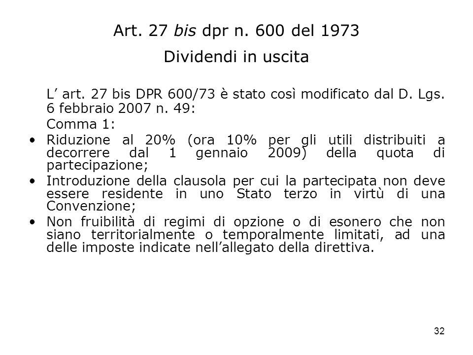 Art. 27 bis dpr n. 600 del 1973 Dividendi in uscita