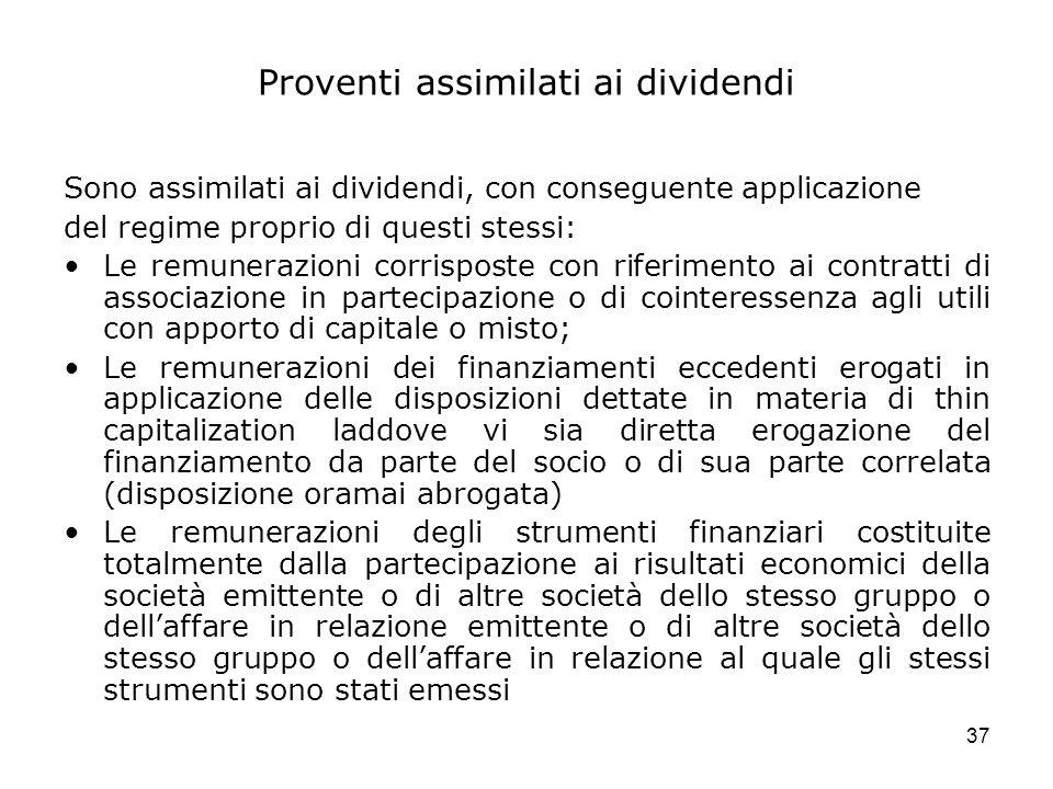 Proventi assimilati ai dividendi