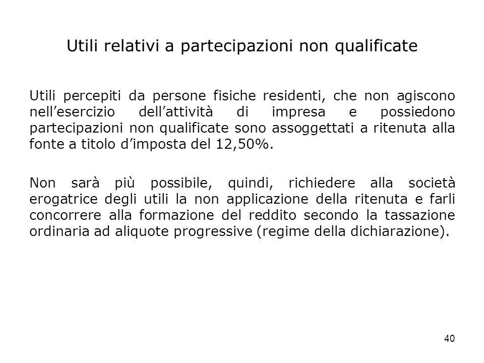 Utili relativi a partecipazioni non qualificate