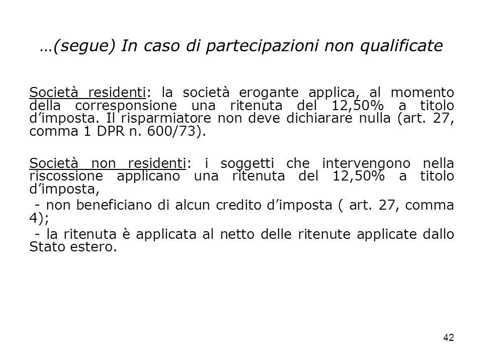 …(segue) In caso di partecipazioni non qualificate
