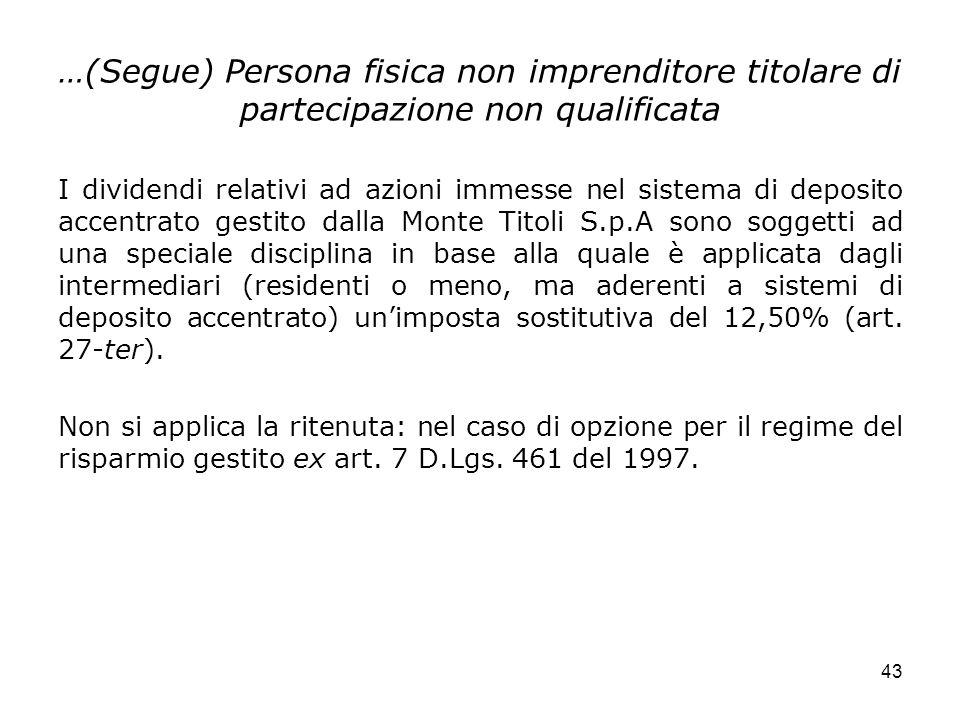 …(Segue) Persona fisica non imprenditore titolare di partecipazione non qualificata