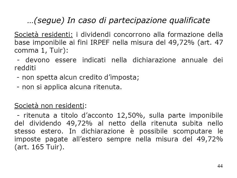 …(segue) In caso di partecipazione qualificate