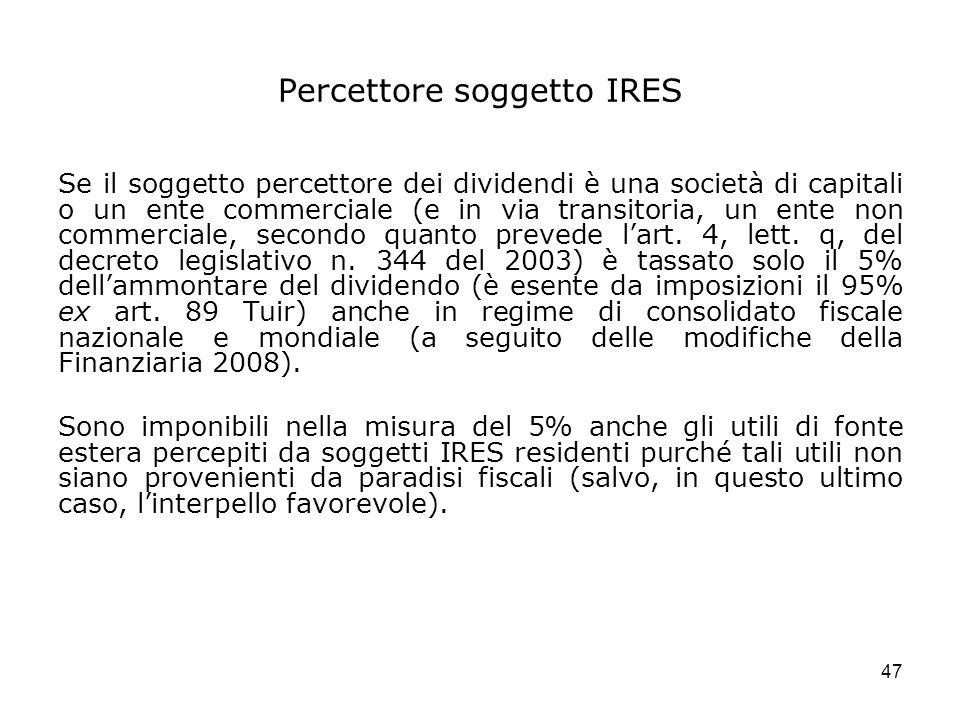 Percettore soggetto IRES
