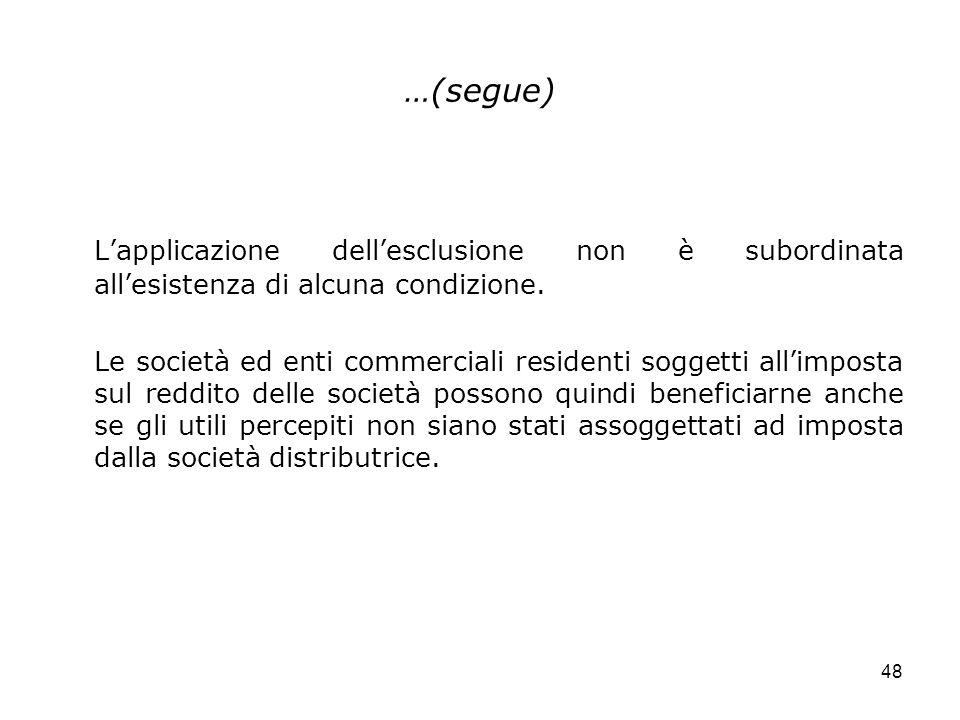 …(segue) L'applicazione dell'esclusione non è subordinata all'esistenza di alcuna condizione.
