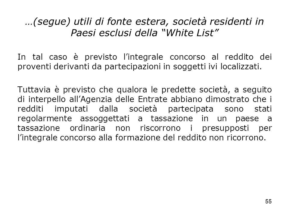 …(segue) utili di fonte estera, società residenti in Paesi esclusi della White List