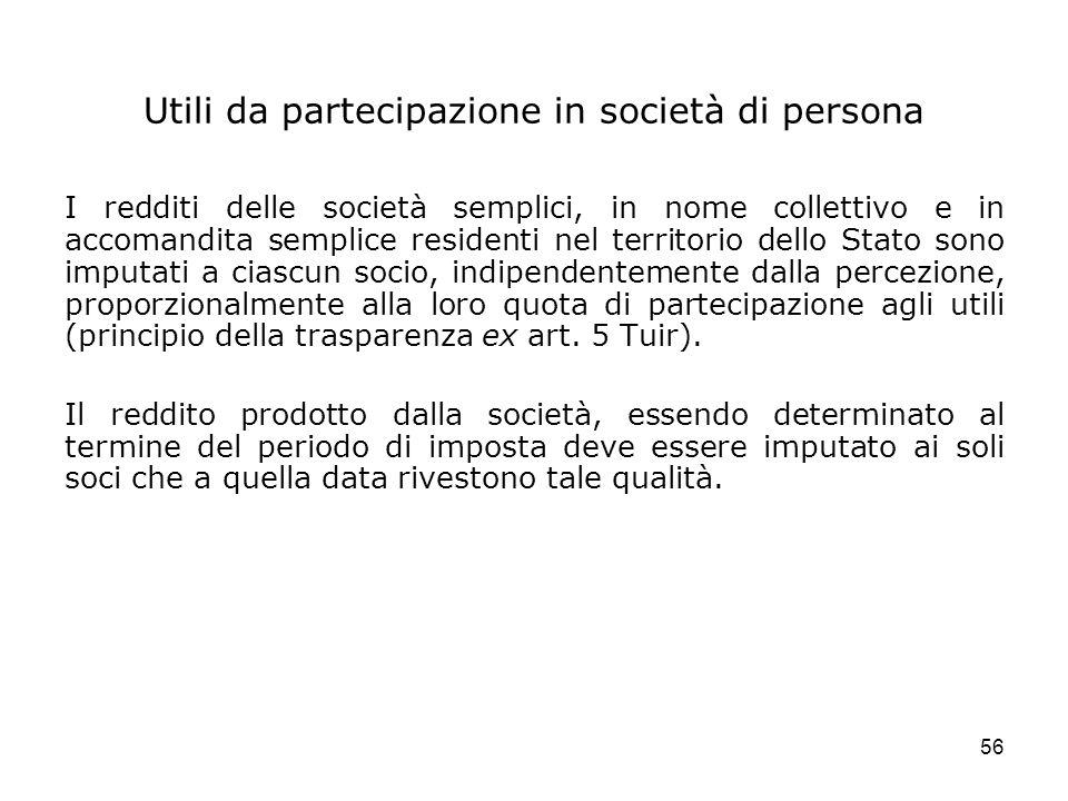 Utili da partecipazione in società di persona