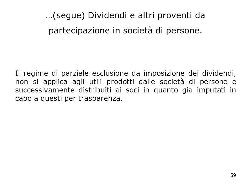 …(segue) Dividendi e altri proventi da partecipazione in società di persone.
