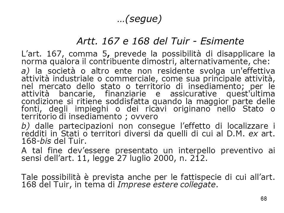 Artt. 167 e 168 del Tuir - Esimente