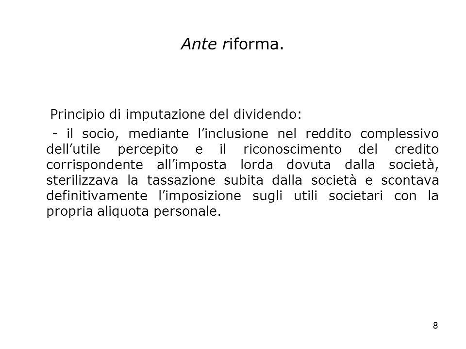Principio di imputazione del dividendo: