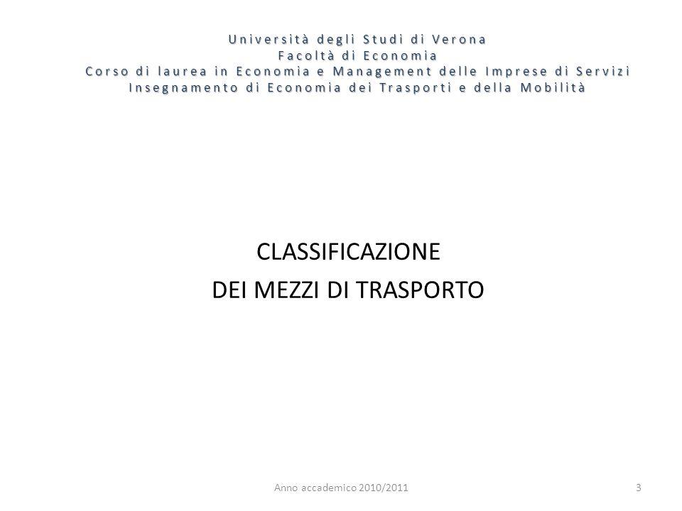 CLASSIFICAZIONE DEI MEZZI DI TRASPORTO
