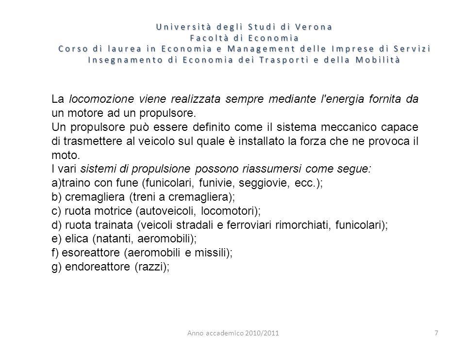 I vari sistemi di propulsione possono riassumersi come segue: